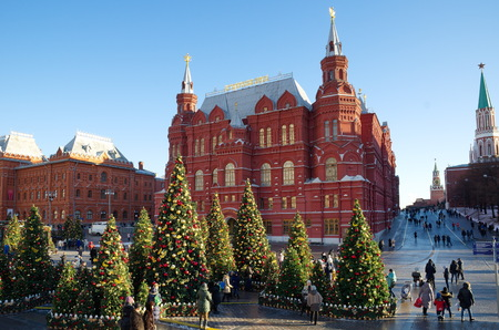 Moscow, Russia - January 9, 2018: The Festival Journey to Christmas. Christmas and New Year on Manege Square. Festival Moscow Seasons - Christmas trees and festive decoration