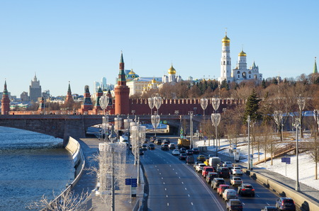 Moscow, Russia - January 9, 2018: Winter view of the Moscow Kremlin and Moskvoretskaya embankment