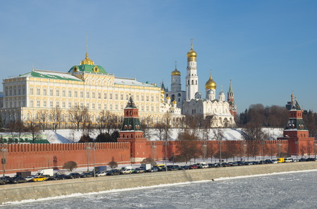 View of the Moscow Kremlin and Kremlevskaya embankment in a Sunny winter day, Moscow, Russia Stock Photo