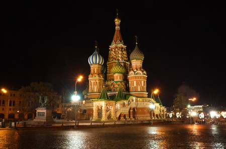 Cathedral of the Intercession of the blessed virgin, that on the Moat (St. Basils Cathedral) in the winter evening, Moscow, Russia Editorial