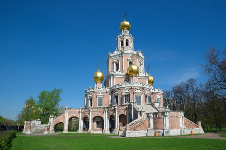 The Church of the Intercession of the Virgin in Fili is built in 1690-1694 in the style of the early Moscow Baroque, Moscow, Russia