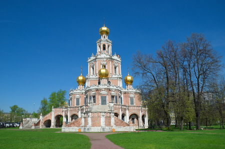 Church of the Intercession of the Virgin in Fili, built in 1690-1694. Monument of Naryshkin Baroque architecture, Moscow, Russia