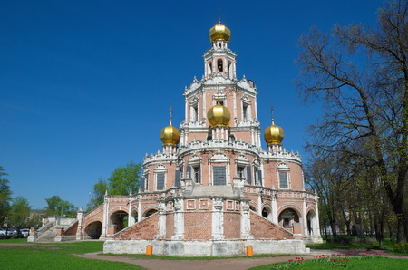 Beautiful Church of the Intercession of the Virgin in Fili, built in 1690-1694. Monument of Naryshkin Baroque architecture, Moscow, Russia