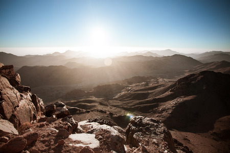 dawn on the top of mount Moses with blue sky
