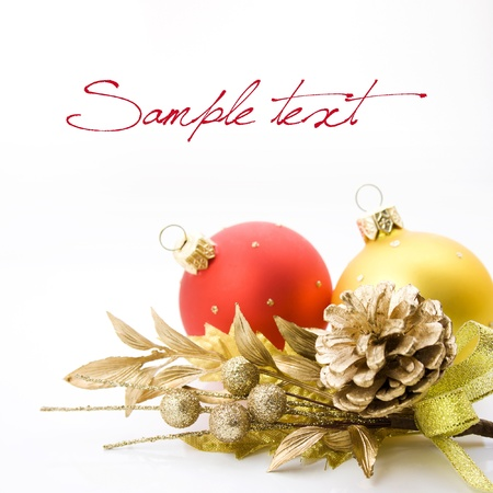 Bright christmas composition with balls and sample text