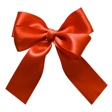 red silk: Red satin gift bow. Ribbon. Isolated on white