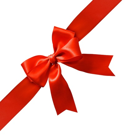 Big red holiday bow on white background