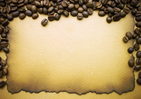 sacking: Coffee over old paper background