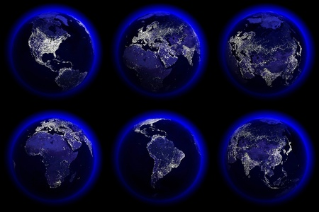 Six Earth Globes of the night photo