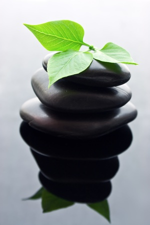 Spa stones stacked in perfect balance with leaf  photo