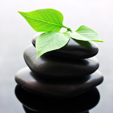 Spa stones stacked in perfect balance with leaf