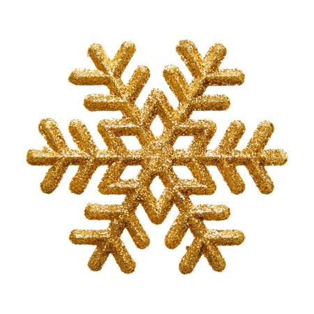 gold snowflakes: Ornamental golden snowflake glittering on pure white background  Stock Photo