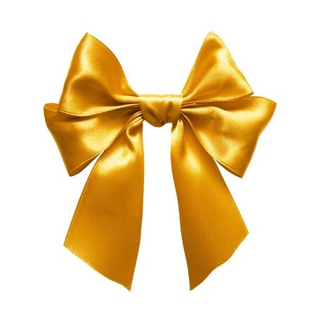 fiocco oro: Oro satinato fiocco regalo. Ribbon. Isolato su bianco