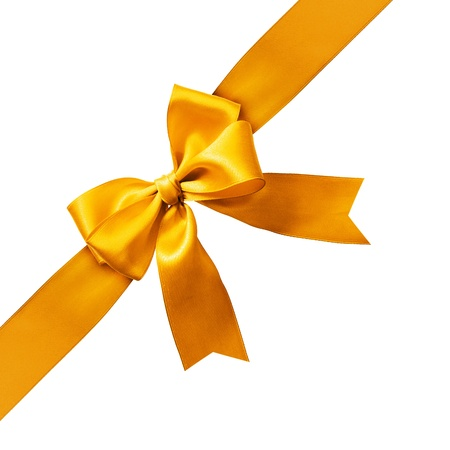 bow knot: Big gold holiday bow on white background
