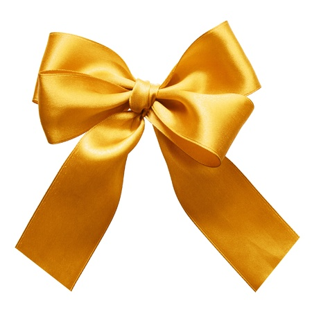 gold bow: Gold satin gift bow. Ribbon. Isolated on white