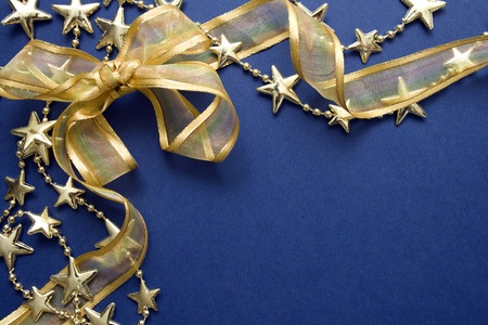 Greeting cards and gold stars on blue paper. Natural Textures  photo