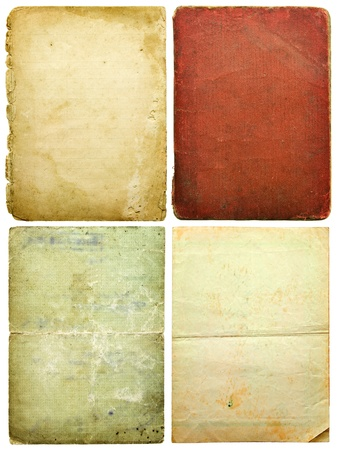 old paper sheets isolated on white  photo