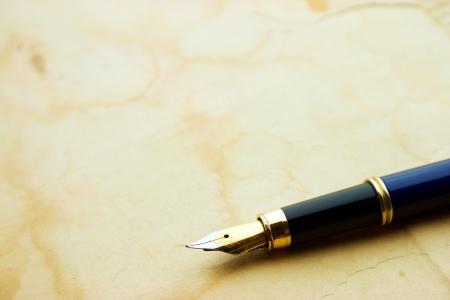 Ink pen on old aged paper