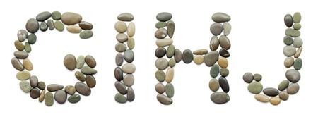 alphabet style: path alphabet of ocean stones