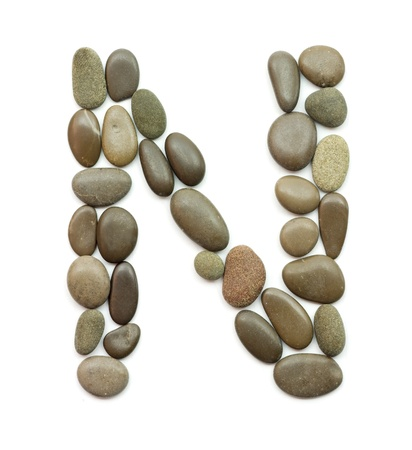 letter n: path alphabet of ocean stones