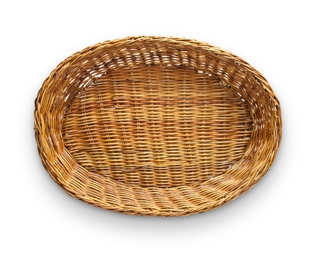 mimbre: Parte superior de cesta de mimbre marr�n ver aislado sobre fondo blanco Foto de archivo