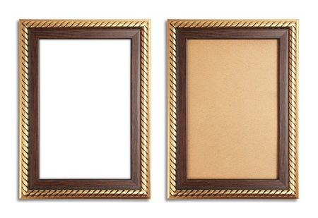 Golden frame with a old paper and white background photo