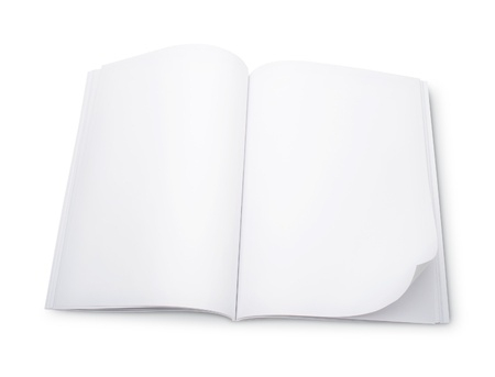 blank area: Blank magazine with double spread pages, on a white background with shadows.