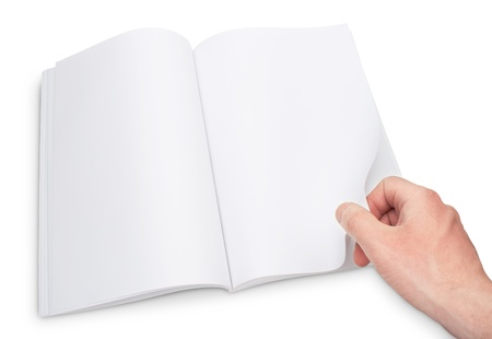 gesture of hand open the blank magazine Stock Photo - 9516455