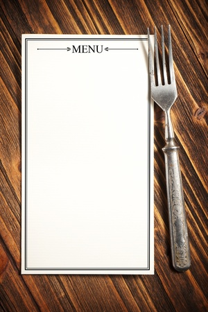 menu restaurant: Menu sur la planche de bois Banque d'images