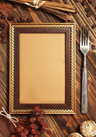 Menu frame on the wooden board photo