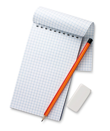 white notebook and pencil isolated photo