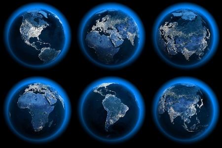 planisphere: Sei globi terrestri della notte