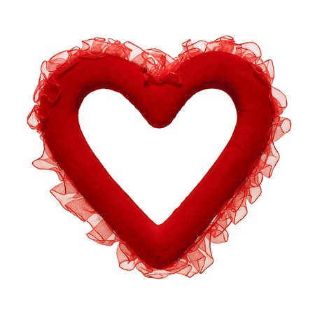Red heart with a ribbon photo