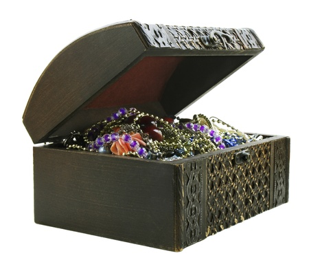 Treasure chest isolated on white background  photo