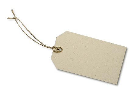 Blank tag tied with string. Price tag, gift tag, sale tag, address label Stock Photo - 10860019