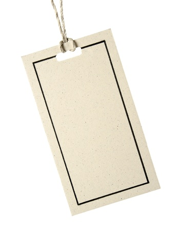 gift tag: Blank tag tied with string. Price tag, gift tag, sale tag, address label