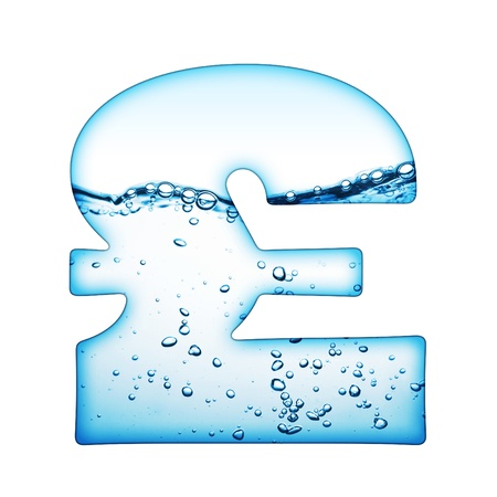 pounds: One letter of water wave alphabet  Stock Photo