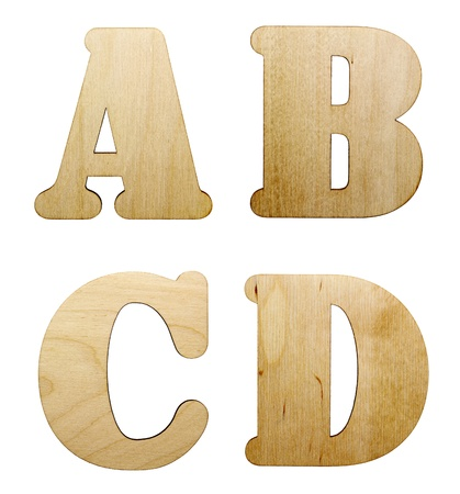 One letter of wooden alphabet isolated on white  photo