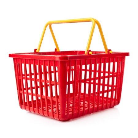 shopping basket: An empty red plastic shopping basket on a white background