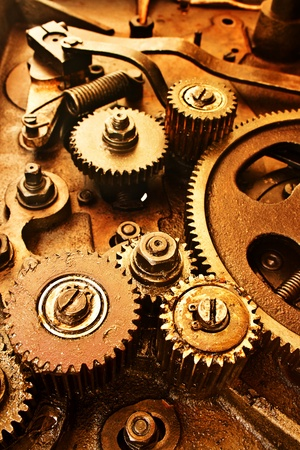 close up view of gears from old mechanism photo