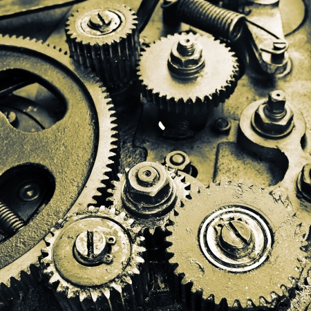 cog wheel: close up view of gears from old mechanism Stock Photo