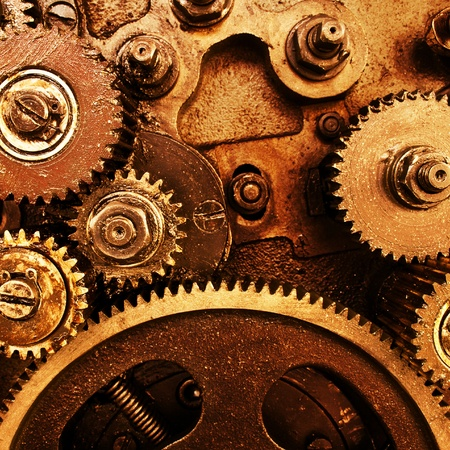 clock gears: close up view of gears from old mechanism Stock Photo