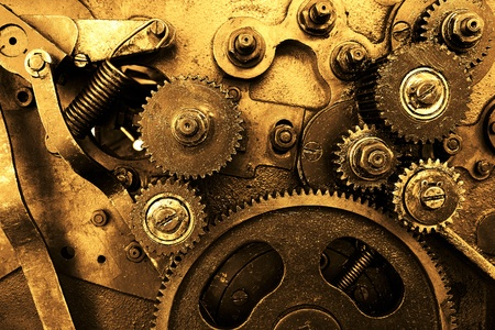 old macro: close up view of gears from old mechanism Stock Photo