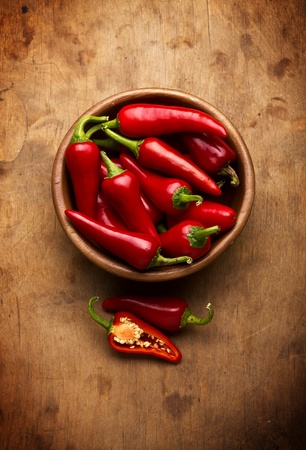 Red Hot Chili Peppers in bowl over wooden background photo