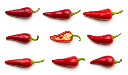 red jalapeno: Chilli peppers, isolated on white
