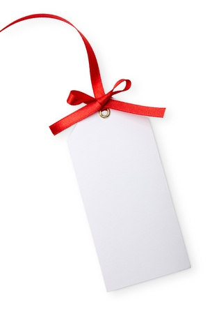 close up of card note with red ribbon on white background Stock Photo - 10866699