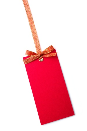 Red tag with bow isolated on white Stock Photo - 10866800
