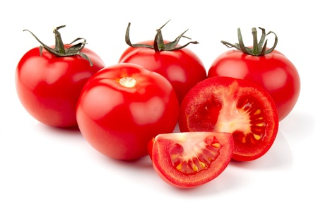 Fresh tomatoes over white Stock Photo