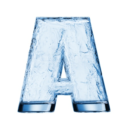 clear: One letter of the alphabet. Water splash in a glass Stock Photo