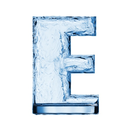 aqua effect: One letter of the alphabet. Water waves in a glass